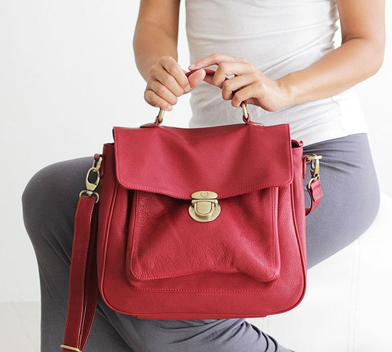 LAST ONE DISCOUNTED red leather handbag - red leather purse - can be worn as shoulderbag and messenger