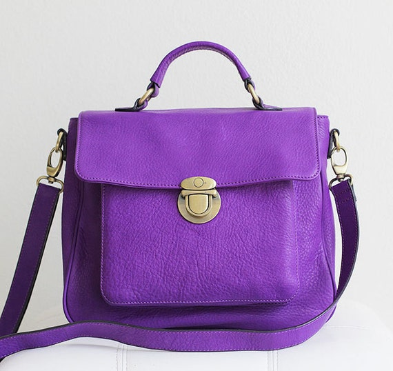 purple leather handbag - purple leather satchel - purple leather purse -  can be worn as shoulderbag and messenger - fits all ipads LAST ONE
