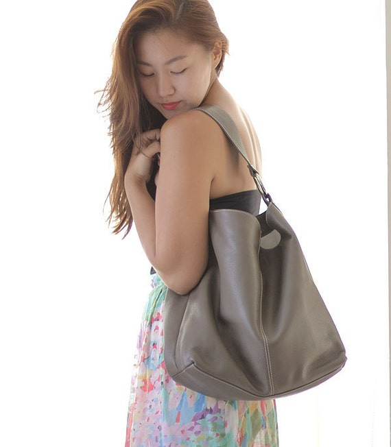 taupe brown leather tote bag LAST ONE