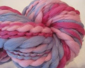 Sugar and Spice and Everything Nice, 53 yds thick and thin metallic thread plied yarn, merino wool top