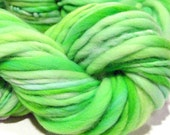 HALF OFF SALE handspun yarn Almost Solid Spring Green thick and thin bulky singles yarn, 60 yards, hand dyed merino wool top