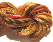 handspun yarn Autumn Blaze with sparkle bulky yarn, merino wool, 60 yds