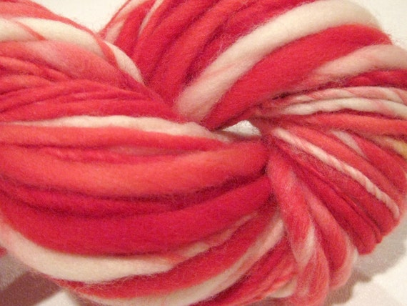 handspun yarn Candy Cane  thick and thin bulky singles merino yarn, 60 yds