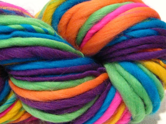 handspun yarn Neon Rainbow thick and thin bulky singles merino yarn, 58 yards, merino wool