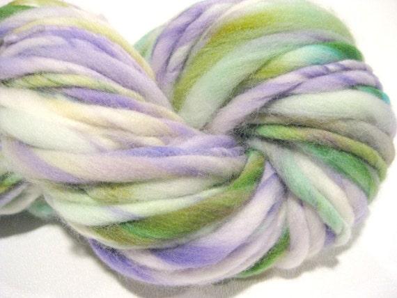 handspun yarn OOAKWhite Washed Lilacs thick and thin bulky singles yarn, 70 yards, hand dyed merino wool top