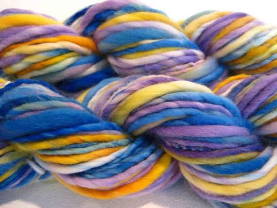 RESERVED for Peggy handspun yarn Spirit thick and thin  merino yarn, 128 yards, hand dyed merino wool top