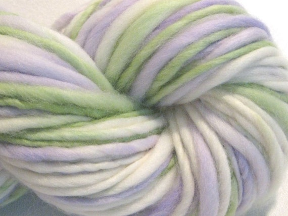 handspun yarn White Washed Lilacs thick and thin bulky singles merino yarn, 60 yards, merino wool