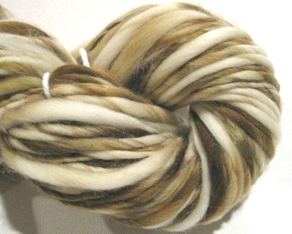 handspun yarn Latte thick and thin bulky singles merino yarn, 58 yards, hand dyed merino wool top