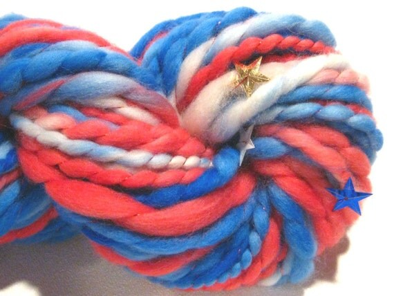 HALF OFF SALE handspun yarn Star Spangled thick and thin bulky singles yarn, 50 yards, hand dyed merino wool with star sequins