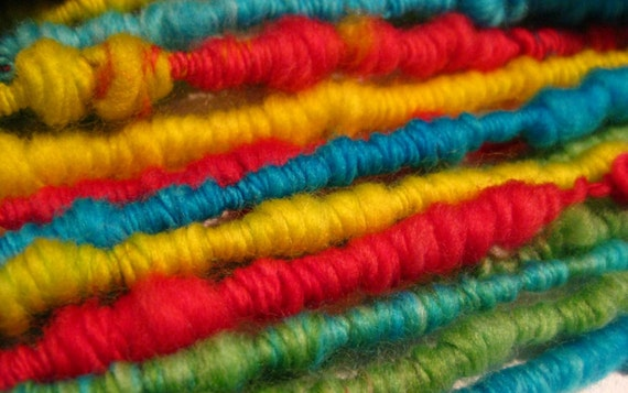 super coiled handspun yarn Color My World 18 yds hand dyed merino wool top