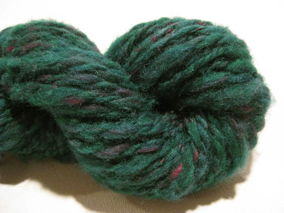 HALF OFF SALE Handspun yarn Country Christmas Pine , 60 yards, heavy worsted weight/bulky 2 ply, wool and nylon