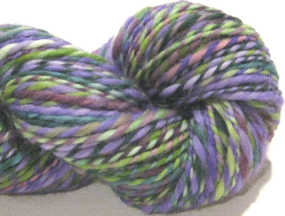 Worsted weight 2 ply handspun yarn Grapevine, 132 yards, hand dyed green purple lavender falkland wool knitting supplies