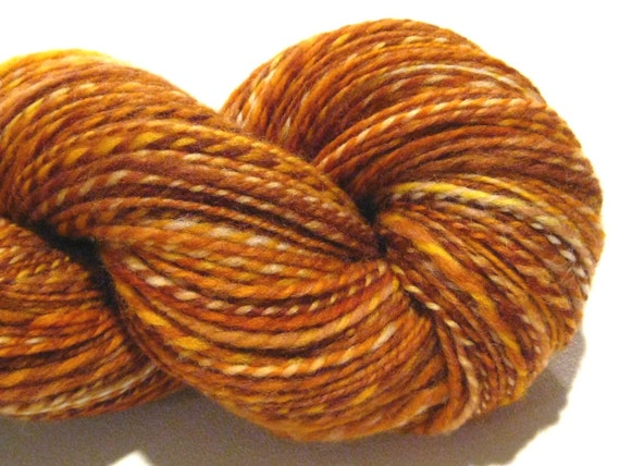 Handspun yarn Butter Toffee, 290 yards, worsted weight 2 ply, hand dyed corriedale wool, gold knitting supplies crochet supplies brown