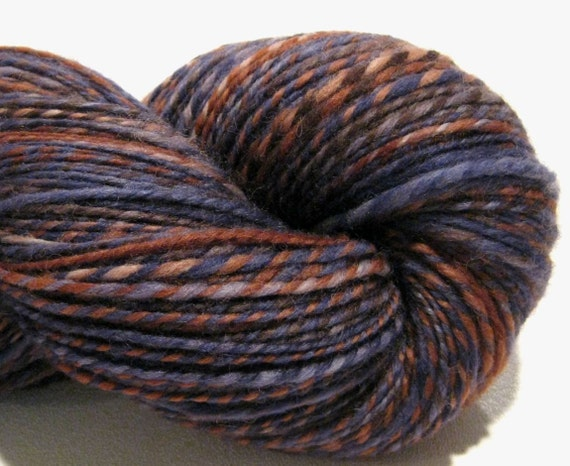 Handspun yarn Levis, 316 yards, worsted weight 2 ply, hand dyed corriedale wool, knitting supplies crochet supplies navy blue brown