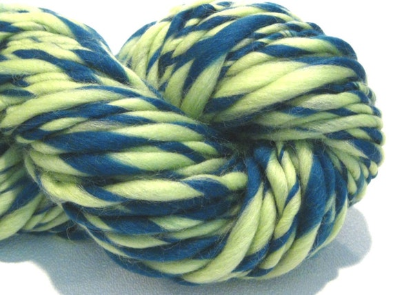 HALF PRICE SALE thick and thin bulky handspun yarn Dianella, 80 yards, teal and spring green merino wool top