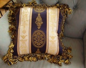 Elegant 13 Inch Navy and Gold Pillow with Highest Quality Spanish Tassel Trim