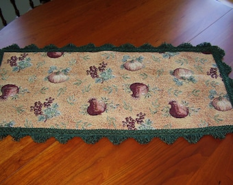 Hand Made Tapestry Pumpkin Thanksgiving 28 1/2 X 14 inch Table Topper