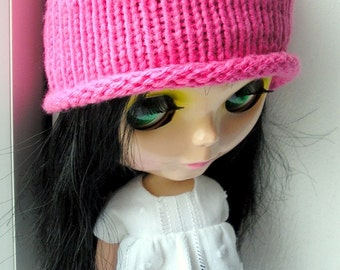Hand Knitted Cotton Hat For Blythe doll in Hot Pink