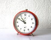 Retro 1970s orange alarm clock Czechoslovakia PRIM