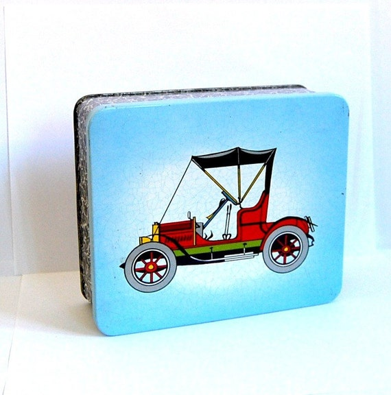 Vintage candy tin box old car made in Germany
