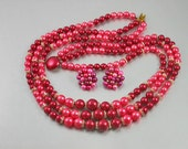 Vintage 1950,  3 Strand Hot Pink, Fuchsia BEADED Pearl NECKLACE