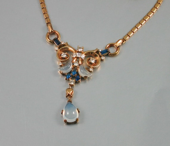 RESERVED   TRIFARI, Alfred Philippe, Clair De Lune Moonstone and Sapphire Necklace