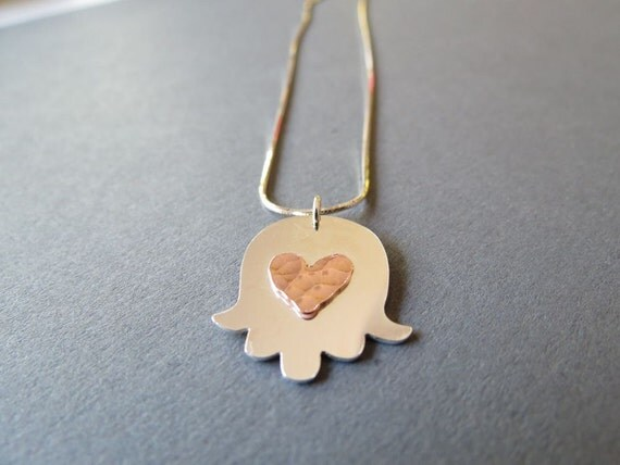 Holiday Sale 25% off use coupon code HOLIDAYSALE13 - Sterling Silver Hamsa Necklace  with Copper Red Heart