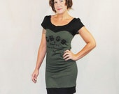 Army Green CBGB Punk Rock - Reconstructed Upcycled T-Shirt Dress  - Made to Order