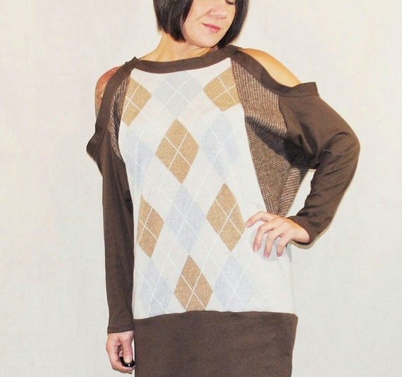Argyle and Tweed Dolman Sleeve Dress - Reconstructed Upcycled Sweater
