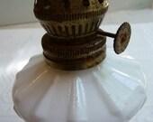 SALE vintage lamp, milk glass, vintage milk glass, oil lamp base, cottage chic, vintage home decor, victorian, unique,white glass,metal base