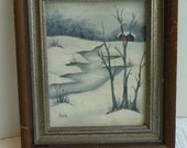 Painting Vintage Original Painting Picture Framed Painting Mini Painting Wood Frame Snow Scene Winter Picture Unique Home Decor