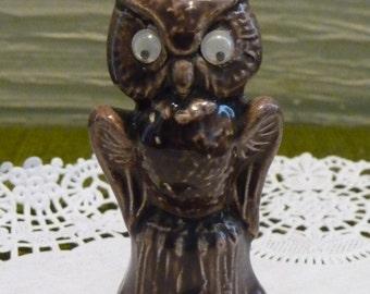 SALE owl figurine, ceramic owl, google eyes, vintage home decor, collectible, brown owl figurine, small owl, unique bird