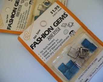 Vintage Fashion Gems, Supplies, Embellishments, Blue Plastic, Metal, Artificial Turquoise, Sewing Supplies,Craft Supplies,Western Trim,Retro