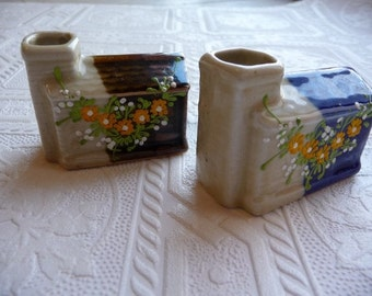 Vintage Toothpick Holder, Set of Two, Toothpick Holders, Ceramic Houses, Kitchen, Chimneys, Hand Painted, Flowers, Unique,Vintage Home Decor