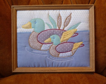 SALE duck picture, Fifi Graphics, fabric art, vintage wall hanging, framed, padded fabric, home decor, unique, wall decor,wildlife