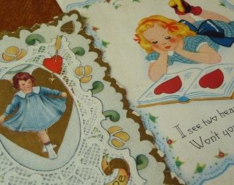 Vintage Valentine Cards, Paper Cards, Valentine Cards, Ephemera, Scrapbooking, Set of Two, Love, Unique Cards, Art,Vintage Collectible,Retro