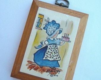 Vintage Girl Plaque, Wood Plaque, Blue Bonnet, Vintage 1973, Wooden Plaque, Home Decor, Small Plaque, Wall Art, Unique Nursery Decor, Cake