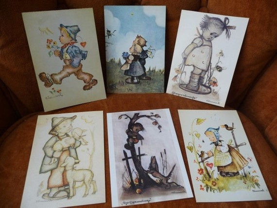 vintage Hummel cards, vintage post cards, postal cards, six cards, ephemera, paper, scrapbooking, collectibles, pictures, children cards