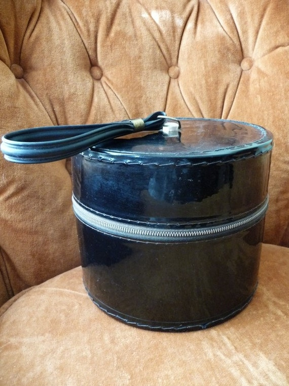 Acrylic Hat Boxes : Hat box vintage shiny black plastic zipper closure