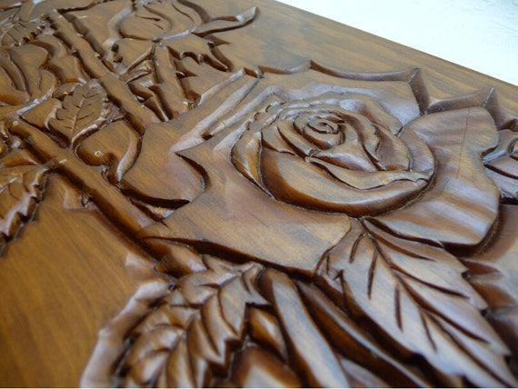 Vintage rose plaque carved roses wood wall hanging unique