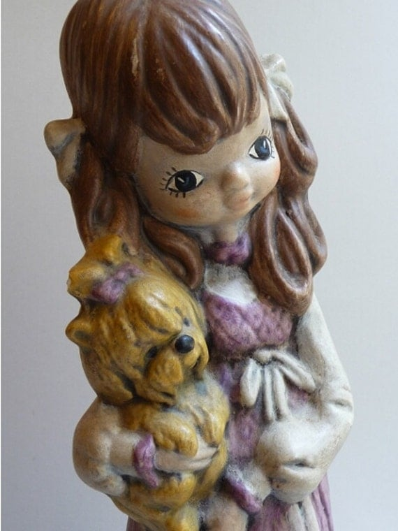 vintage figurine, girl figurine, ceramic figurine, girl, dog, vintage home decor, collectible, child figurine, unique childs decor, nursery