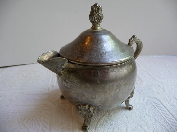Vintage Silver Creamer with Lid Unique Bowl Home Decor Table Kitchen Dining Ornate Decorative Creamer Metal