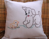Embroidered Puppy Pillow Cover....FREE SHIPPING