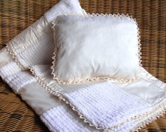 Embroidered Silk Dupioni, Chenille, Flannel Quilt And Pillow