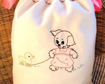 Large Drawstring Bag...Choice of Boy, Girl or Unisex...Made Out Of Heavyweight Flannel