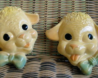 Chalkware Lamb Wall Hangings