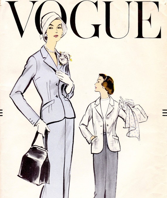 Vintage 1950s skirt and jacket sewing pattern - Vogue 9194 - Bust 38