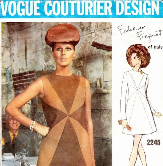 Vintage 1960s dress pattern - Vogue Couturier 2245 by designer Federico Forquet - Bust 34