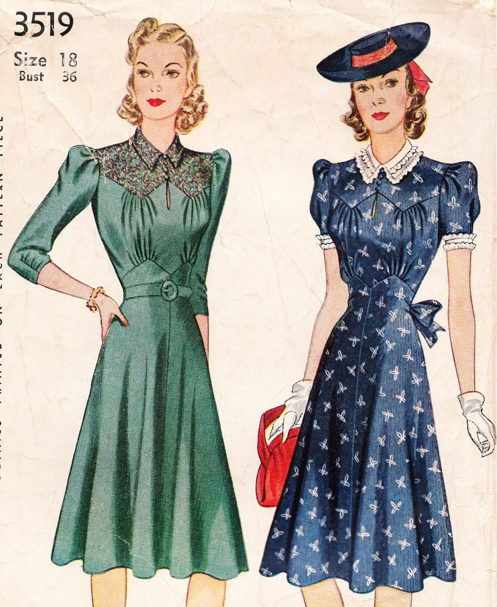 1940s Dressing Gown: Vintage 1940s Dress Pattern Simplicity 3519