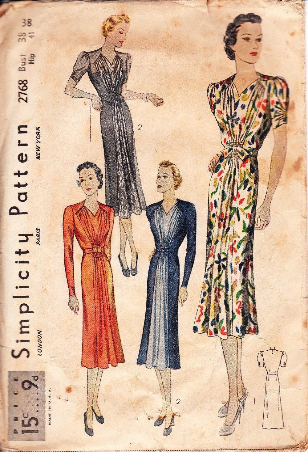 Vintage 1930s dress pattern Simplicity 2768